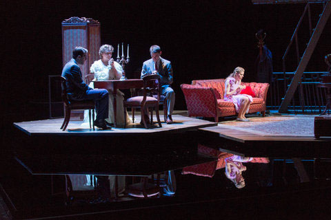 Zachary Quinto, Cherry Jones, Brian J. Smith and Celia Keenan-Bolger in The Glass Menagerie