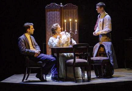 Zachary Quinto, Cherry Jones, and Brian J. Smith in The Glass Menagerie